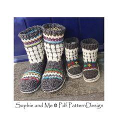 Fair Isle Slipper-Boots for Adults Crochet por PdfPatternDesign