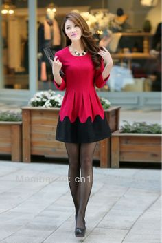 2014 spring new fashion ladies woolen bottoming dress Korean Slim fit  o-neck three-quarter sleeve US $37.98