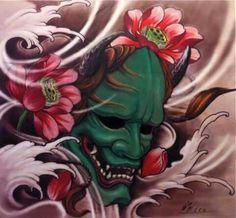 . Asian Tattoos, Leg Tattoos, Tattoos For Guys, Sleeve Tattoos, Hanya Mask Tattoo, Hannya Tattoo, Hannya Maske, Japanese Tattoo Art, Japanese Art