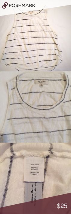 """Madewell crop tank Gently worn- still in great shape! Size small, true to size. Cropped fit- approx 18-18.5"""" length, approx 17"""" underarm to underarm! Light blue striped! Super lightweight and comfy! I have this tank in 4 colors because I love it so much haha! Madewell Tops Tank Tops"""