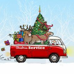 Super leuke en kleurrijke kerstkaart met vw bus pick-up met rendieren, kerstboom en arrenslee, leuk om te geven als kerstkaart. Te vinden op: www.kaartje2go.nl Maak jouw eerste kaart op onze website nu gratis!