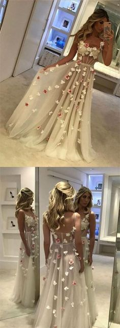 Beautiful A-line Floor-length Flower Prom Dresses,Sexy White Evening Dress #homecomingdresses