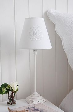 White Bedside Lamp With Shade For A Pure White Bedroom