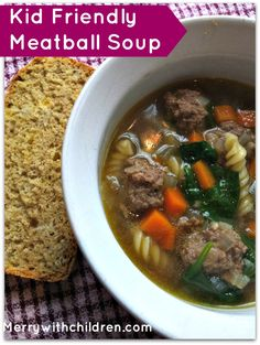 Kid Friendly Meatball Soup - Try this delicious and kid friendly Mini Meatball Soup! It's easy, delicious and perfect for lunch or dinner. Fall Recipes, Soup Recipes, Dinner Recipes, Healthy Recipes, Chili Recipes, Dinner Ideas, Healthy Soups, Dinner Menu, Healthy Kids
