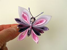 Butterfly Kanzashi Hair Clip Purple Lilac Fabric by AllasOriginals