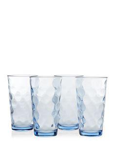 Home Essentials Set of 4 Blue Textured Glasses