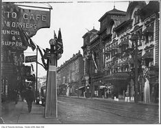 For this curated collection of vintage photographs from Toronto, we took a look along King Street to see what is was once like. Toronto Street, Downtown Toronto, Vintage Photographs, Vintage Photos, Lawrence Street, Peter Street, Queen Street West, West University, Yonge Street