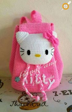 Ideas crochet purse kids hello kitty for 2019 Crochet Fabric, Cute Crochet, Crochet For Kids, Knit Crochet, Crochet Patterns, Crochet Shawl, Crochet Ideas, Hello Kitty Crochet, Hello Kitty Bag