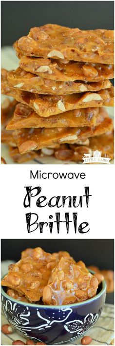 No more candy thermometer. Just minutes to perfect peanut brittle! Best Dessert Recipes, Candy Recipes, Fun Desserts, Holiday Recipes, Snack Recipes, Cooking Recipes, Snacks, Peanut Recipes, Desert Recipes