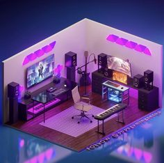 Home Studio Setup, Music Studio Room, Computer Gaming Room, Gaming Room Setup, Bedroom Setup, Bedroom Layouts, Small Game Rooms, Video Game Rooms, Game Room Design