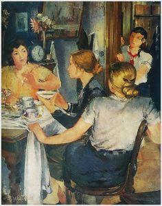"Yuri Pimenov (Russian, 1903-1977) - Tea time, 1935 "" Работницы Уралмаша дома за чаем."""