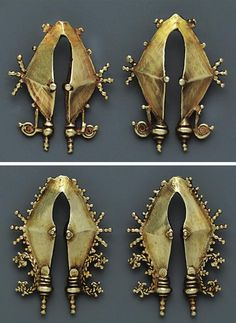 Indonesia ~ Central Flores, Lio | Ear ornaments (omé mbulu rua, wea); gold | 19th century || Source: 'Gold Jewellery of the Indonesian Archipelago', page 173