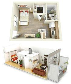 Denah Rumah Sederhana 1 Kamar Tidur Desain Baru 3D