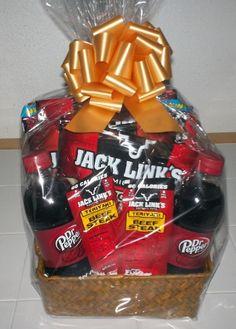 Beef Jerky & Dr. Pepper Snack Basket (christmas snacks basket)