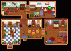 My Spring, Year 4 house complete with tea room and butterflies. Trying to change up my house design from my usual go-to's! Stardew Farms, Stardew Valley Farms, Farmhouse Layout, Farm Layout, Stardew Valley Greenhouse, Full House, Tiny House, Stardew Valley Layout, Stardew Valley Tips