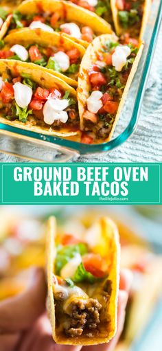 I secretly wish it was Taco Tuesday every night and once you taste these quick and easyGround Beef Oven Baked Tacos you'll understand why!Refried beans, ground beef taco meat and melted cheese in a crispy taco shell. Your family will be  fighting for seconds. via @thelifejolie