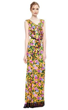 """Shop Floral Printed Gown by Nina Ricci - Moda Operandi (lace on the """"murdered"""" dress) Floral Print Gowns, Floral Prints, All Fashion, Fashion Prints, Satin Gown, Silk Satin, Fashion Merchandising, Resort Dresses, Fashion Colours"""