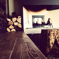 bench, wood, fireplace