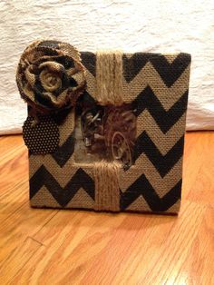 Handmade Burlap  picture frame in black chevron print by BurlapSax