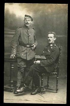 WWI medical German officer & GI soldier c1918 real photo postcard.