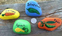 Painted rock garden signs