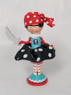 pirate girl clothespin doll