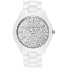 Michael Kors 'Slim Runway' Pave Dial Ceramic Bracelet Watch, 42mm ($350) ❤ liked on Polyvore featuring jewelry, watches, white, white wrist watch, pave bracelet, white ceramic watches, bracelet jewelry and ceramic jewelry