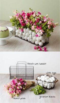 DIY this pretty Easter Egg Wire Basket Centerpiece for a gorgeous  table setting! | DIY Easter Decor |
