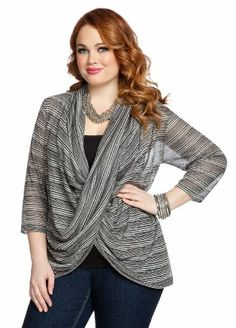 Ashley Stewart Women`s Striped Crossover Drapefront Knit Top $20.65