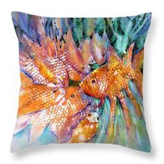 Goldfish Pond Chatroom Throw Pillow featuring the painting Goldfish Pond Chatroom by Sabina Von Arx Goldfish Pond, Creative Colour, Pillow Sale, Season Colors, Basic Colors, Painting Techniques, Color Show, Pillow Inserts, Colorful Backgrounds