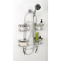 Zenna Home Expanding Shower Caddy, Rust-Resistant, Chrome with Brushed Accents Bathroom Baskets, Small Bathroom, Bathrooms, Large Shower Heads, Shower Hose, Basket Shelves, Hand Held Shower, Chrome Finish, Polished Chrome