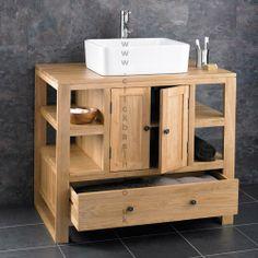 Solid Oak Single Door Bathroom Basin Cabinet With Resin Stone Basin