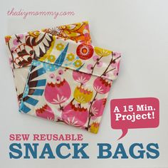 Sew an Easy Reusable Snack Bag in 15 Minutes! made with laminated cotton, velco. 15 min to make. #backtoschool #DIY              www.thediymommy.com/sew-a-diy-reusable-snack-bag/