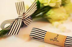 "Black and Ivory Ribbon 3/4"" – 3 yards – grosgrain ribbon – striped ribbon – wedding favor – gift idea (RB03-1-034)"