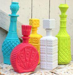 Painting flea market decanters. How cool is this idea! via www.mitzismiscellany.com