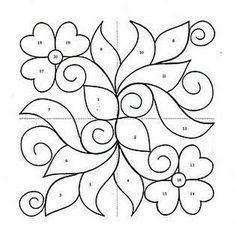 Ornaments, charts and images for applications. Applique Quilt Patterns, Quilting Templates, Applique Templates, Stencil Patterns, Hand Embroidery Patterns, Applique Designs, Quilting Designs, Free Hand Rangoli Design, Rangoli Designs With Dots