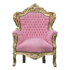 French Baroque Chair In Pink With A Gilt Wood Frame. Not sure if pink was a common color used during the time, but the overall shape is a good example of Baroque. Pastel Furniture, French Furniture, Furniture Chairs, Wooden Furniture, Tufted Chair, Velvet Armchair, Pink Accent Chair, Pink Sofa, Accent Chairs