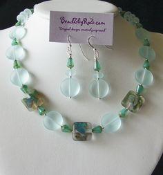 "Artisan Lampwork beads & polished sea glass. Cools you down- ""REFRESH"" set $60"