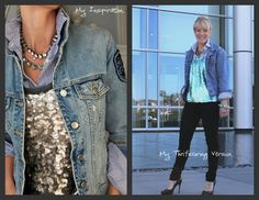 Friday Inspiration!  I absolutely love the unexpected pairings of sequins, stripes and denim!    Most of my version I was able to pull from my closet so this was a super easy and inexpensive recreation.  The only thing I didn't have was a gold sequened tank.  I found this teal version at the second Goodwill I stopped at.  I actually like the colors of mine a little better!