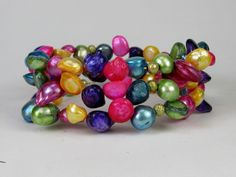 Dazzling Pastel Colors Shell Beads Memory Wire Bracelet #bc144 by CycleofLifeDesign on Etsy