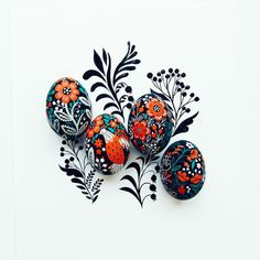 Hand Painted Eggs are a Folk-Inpspired Easter by Dinara Mirtalipova Linear Art, Easter Colors, Egg Art, Vintage Easter, Painted Rocks, Hand Painted, Easter Eggs, Cool Art, Art Photography