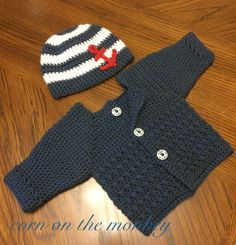 Corn on the Monkey: crochet anchor hat (FREE PATTERN) and the Newton sweater