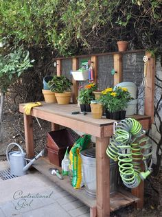 potting bench on side porch. Spigot knobs for hanging things, hose on side of bench, storage underneath redwood potting bench side view centsational girl Outdoor Projects, Garden Projects, Potting Station, Potting Tables, Pallet Potting Bench, Tool Bench, Bench Plans, Planter Bench, Garden Structures
