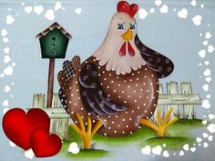 Chicken Painting, Chicken Art, Primitive Country Christmas, Country Chicken, Rooster Art, Flower Wall Decals, Paint Cards, Chickens And Roosters, Decoupage Vintage