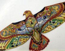 Hawk, dierlijke geest rode rubber stempel met Indiaanse dierlijke totems, door Sue Coccia
