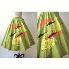 50's Novelty Skirt // Vintage 1950's Tropical Fish Novelty Print Chartreuse Cotton Full Pleated Skirt XS. $62.00, via Etsy.
