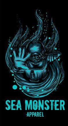 Kraken and Diver Illustration  by Josh Garner  dive, kraken, ocean, monster, art