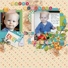 Noah loved playing with the same little Fisher Price train that his mom had played with when she was a little girl!  He was so cute!!  I used the  download a day kit from JB Studioi-I Am Happy http://store.gingerscraps.net/I-Am-Happy-by-JB-Studio.html and I also used Dagi's Heartfelt templates from the Buffet: http://store.gingerscraps.net/Heartfelt.html