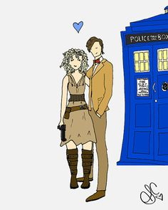 The only water in the forest is the river. And the only girl for The Doctor is River Song. [The Doctor and River Song by madewithlovebysara on etsy ]