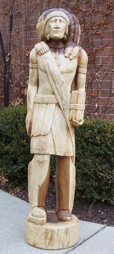 5 ft Cigar Store Indian Carved Wood Art